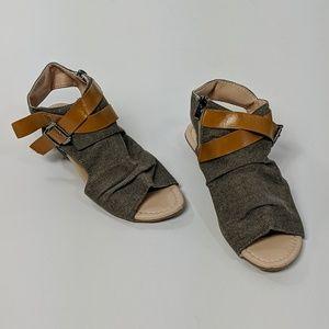 Brown canvas open toe low heel sandals